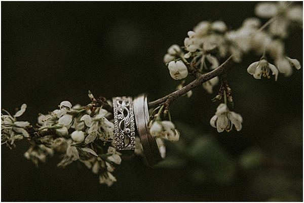 wedding rings on florals from this styled shoot