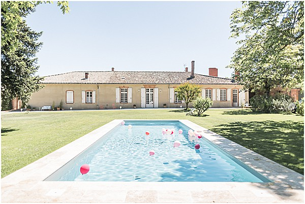 wedding venue in France with a pool