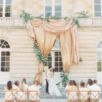 Wedding Ceremony at the front steps of Chateau de Courtomer