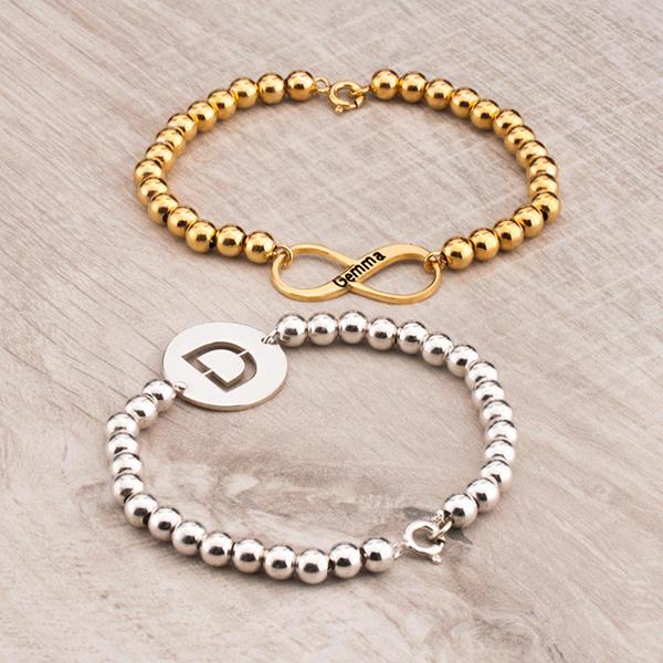 Bead Bracelets monogram for bridal party