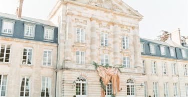 Facade Chateau de Courtomer set up for wedding ceremony