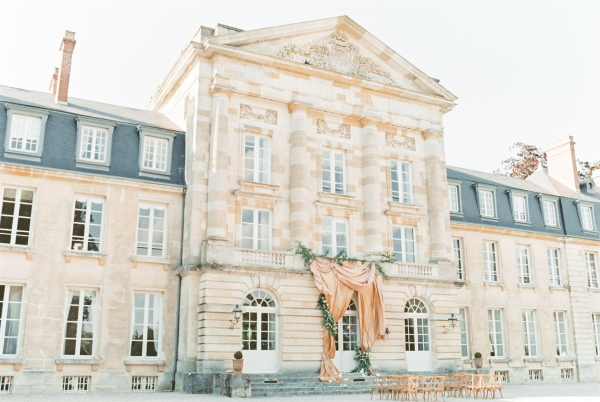 Facade Chateau de Courtomer set up for wedding ceremony
