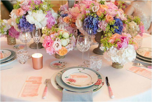 Pastel wedding table setting