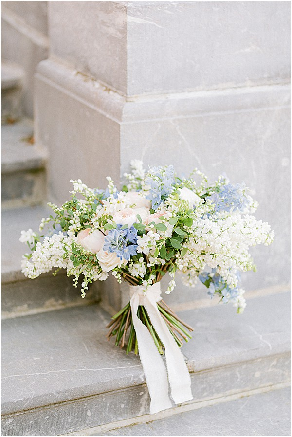 bridal flowers on marble stairs
