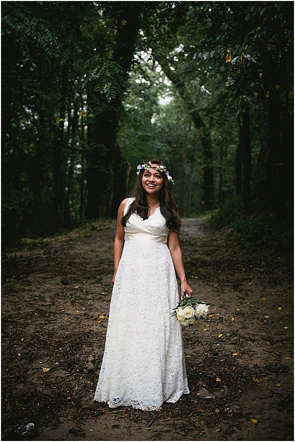 bride with florals in france in the forest | Image by Ambre Peyrotty