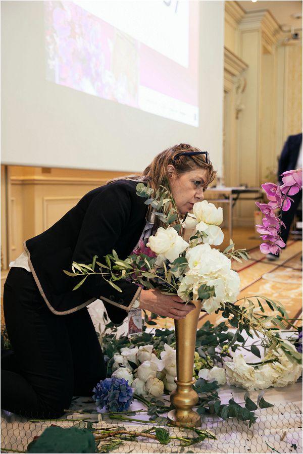 floral designer at a wedding