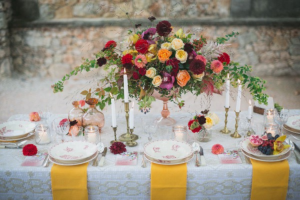 2 Elian Concept Weddings French Fall Wedding Autumnal Inspired Table Setting Wild Roses