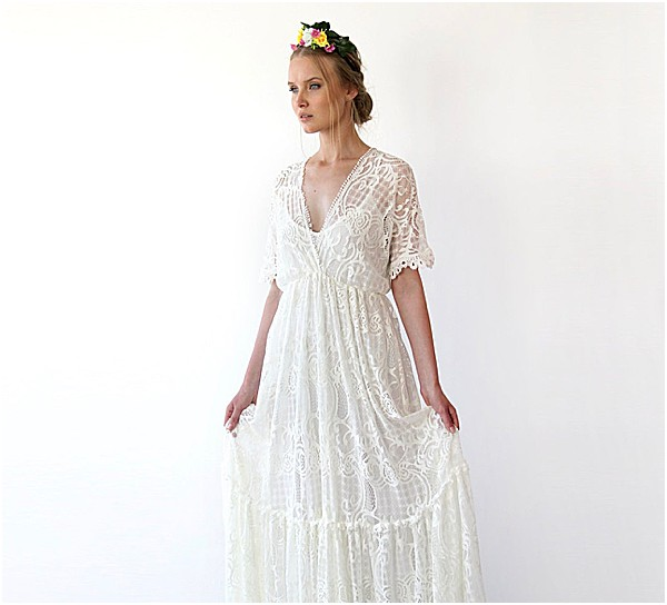 Be a boho bride with a bump when you wear this lovely dress by Blush Fashion