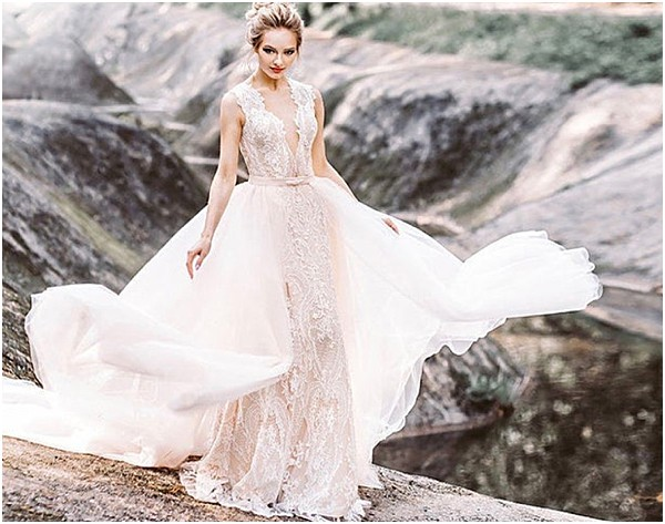 glam wedding gown for new mom