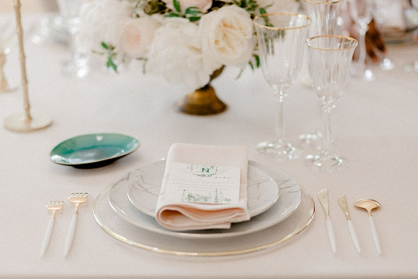 Emerald and Blush Wedding decor