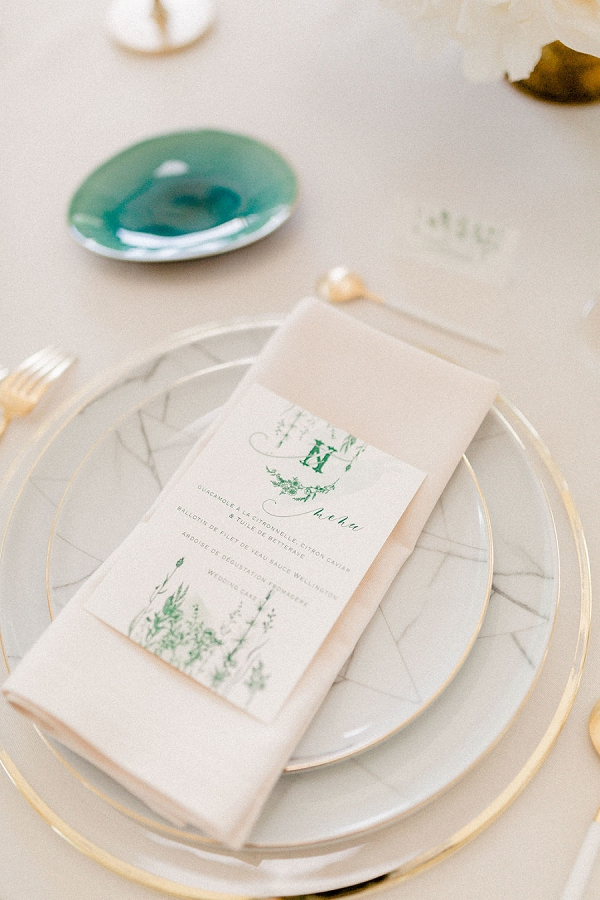 Emerald and Blush Wedding stationery