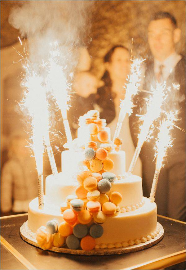 French Wedding Cake with fireworks by Matthias Toth Photography