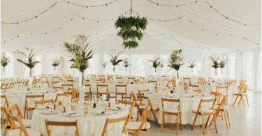 clean and modern wedding reception design