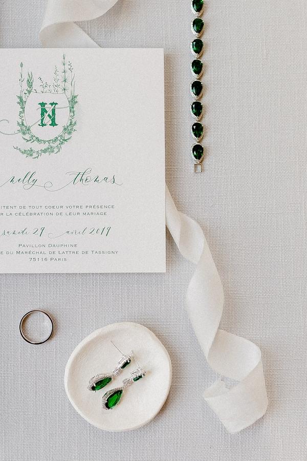 emerald bridal details