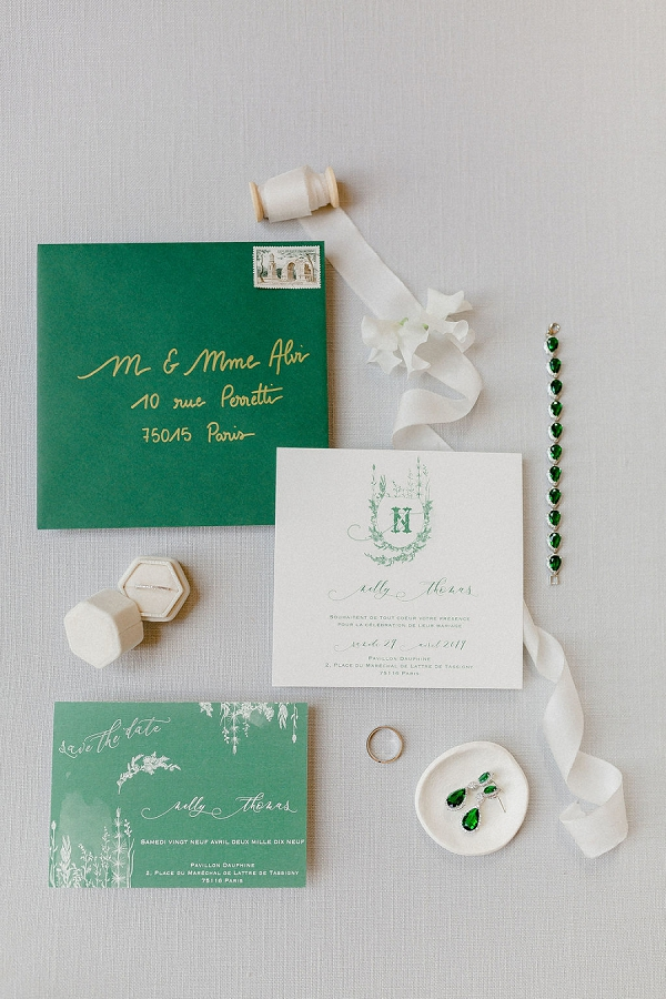 emerald wedding stationery