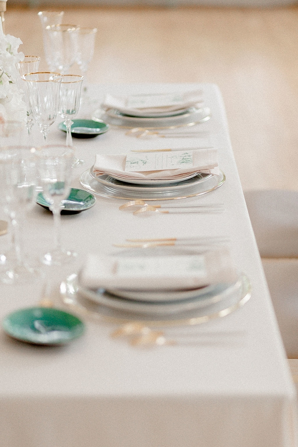 gold edged wedding table details