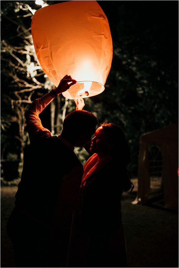 sky lanterns wedding in France by Matthias Toth Photography