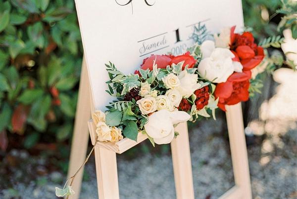 wedding sign florals