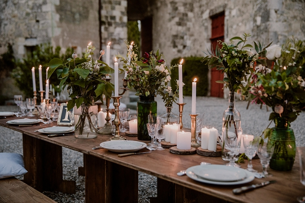 candle lit wedding breakfast