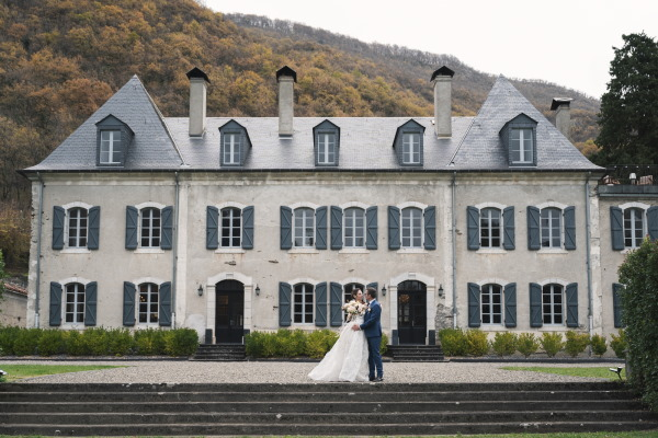 Bride and Groom outside Chateau Siradan in Daytime