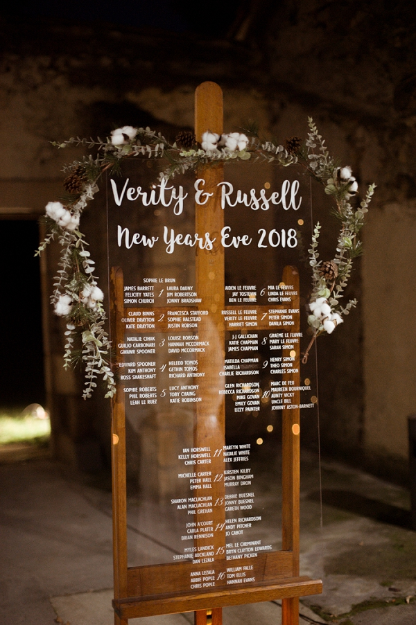 New Years Eve Wedding table plan