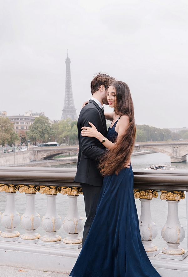 bride and groom to be in Paris