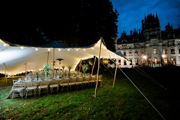 outdoor evening wedding breakfast