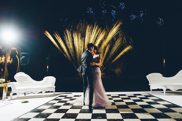 outdoor wedding fireworks