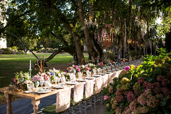 wedding breakfast under trees