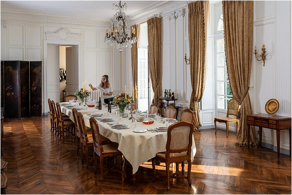 Getting ready for guests in the main dining room