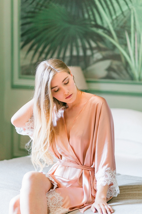 blush wedding dressing gown