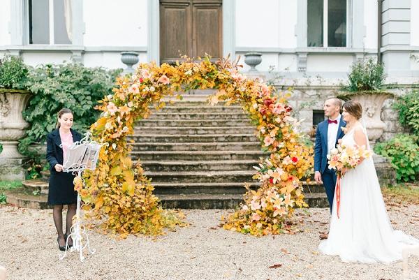 autumnal floral arch