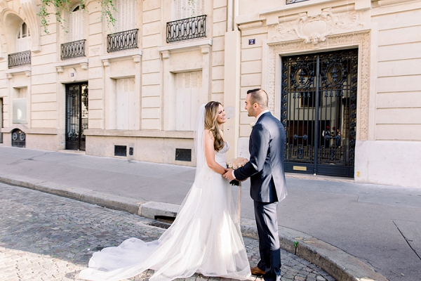 bride and groom first look Paris