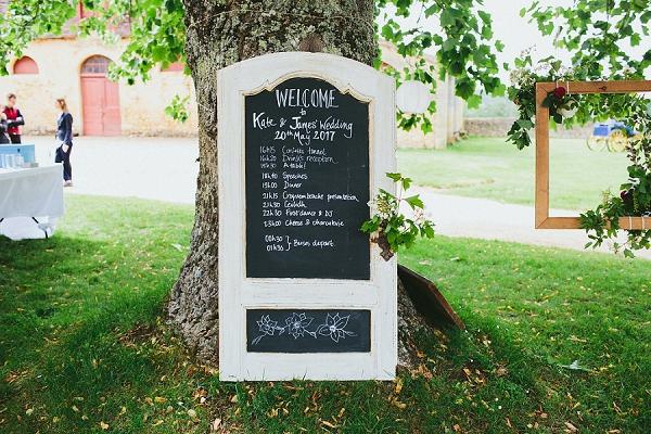chalk board wedding timeline
