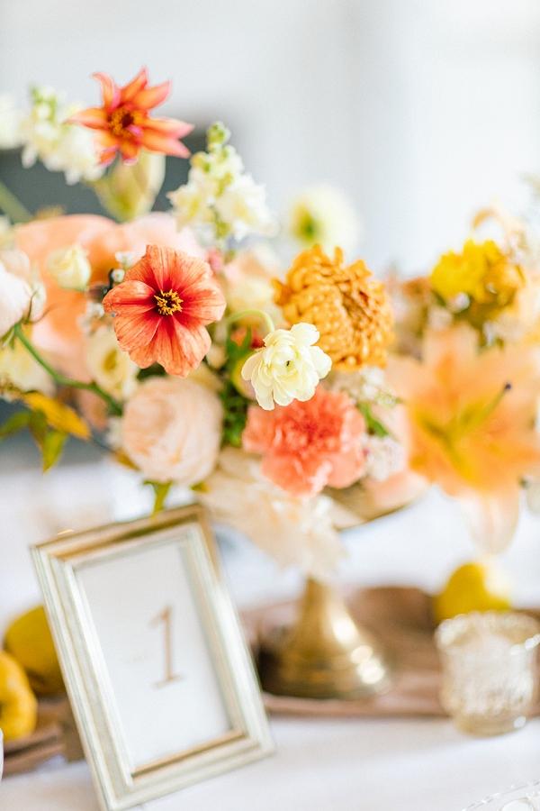 coral wedding floral arrangements