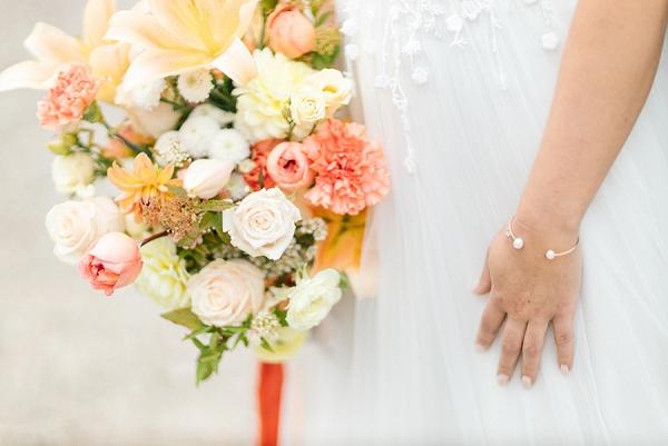 coral wedding florals