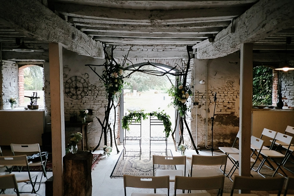 indoor barn wedding ceremony