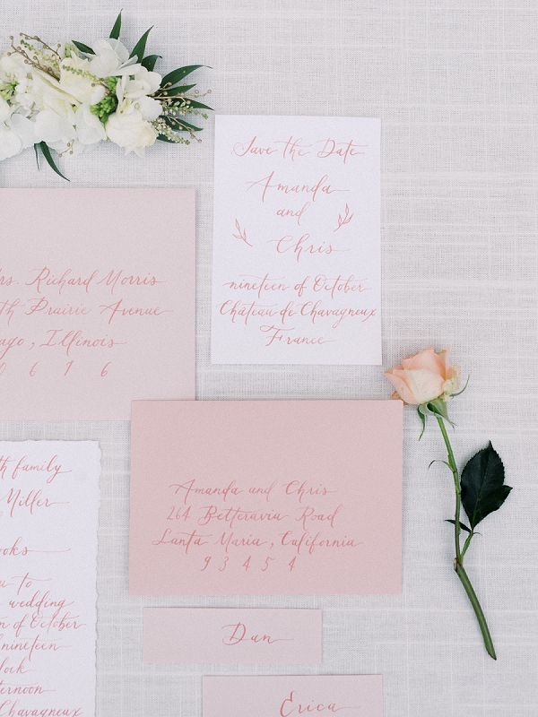 pastel pink wedding invite