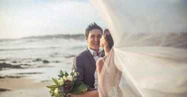 stunning beach wedding photo