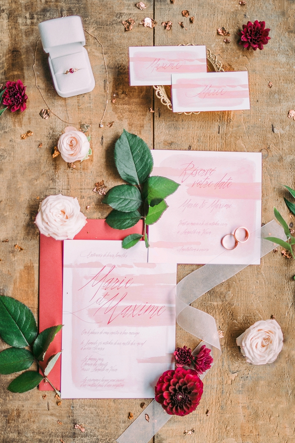 Burgundy wedding stationery