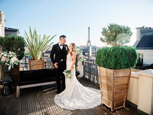 Roof top Paris wedding
