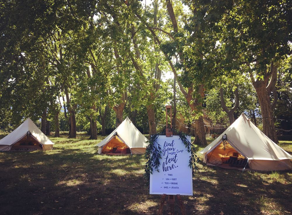 SNAZZY CAMP 4M BELL TENT GLAMPING FRENCH WEDDING ACCOMMODATION FRENCH COUNTRY WEDDING
