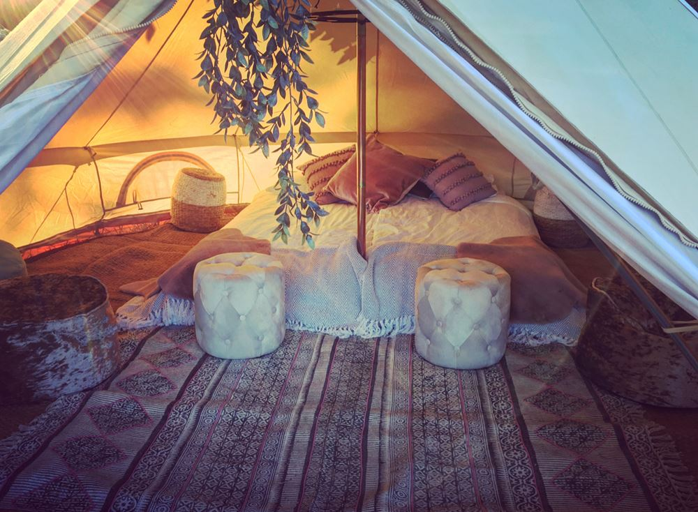 SNAZZY CAMP 4M BELL TENT INTERIOR GLAMPING FRENCH WEDDING ACCOMMODATION