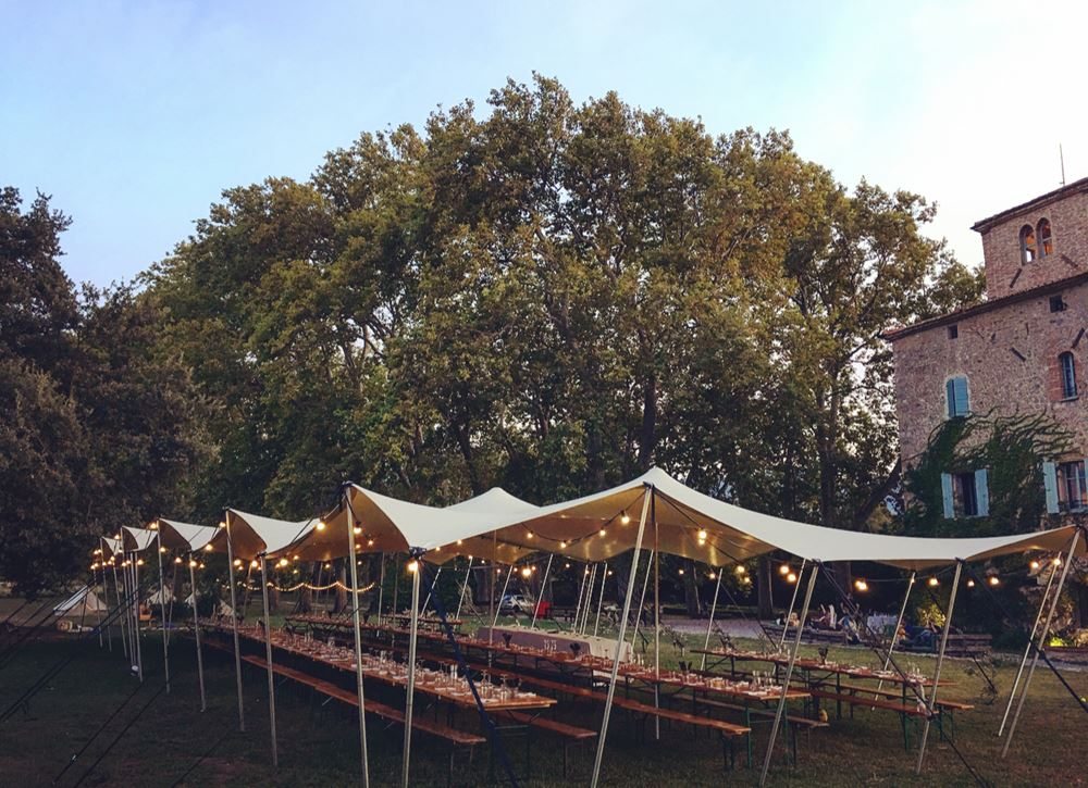 SNAZZY CAMP FRENCH DESTINATION WEDDING STRETCH TENT CHATEAU WEDDING PERPIGNAN