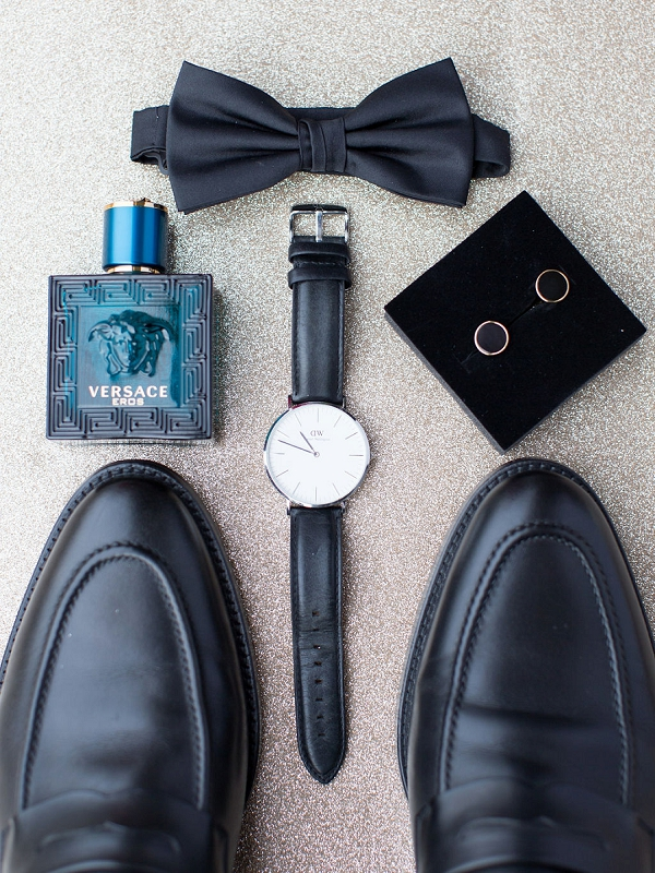 black tie groom details