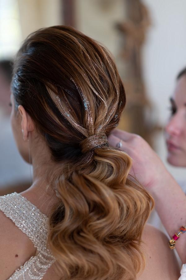 bridal glitter hair