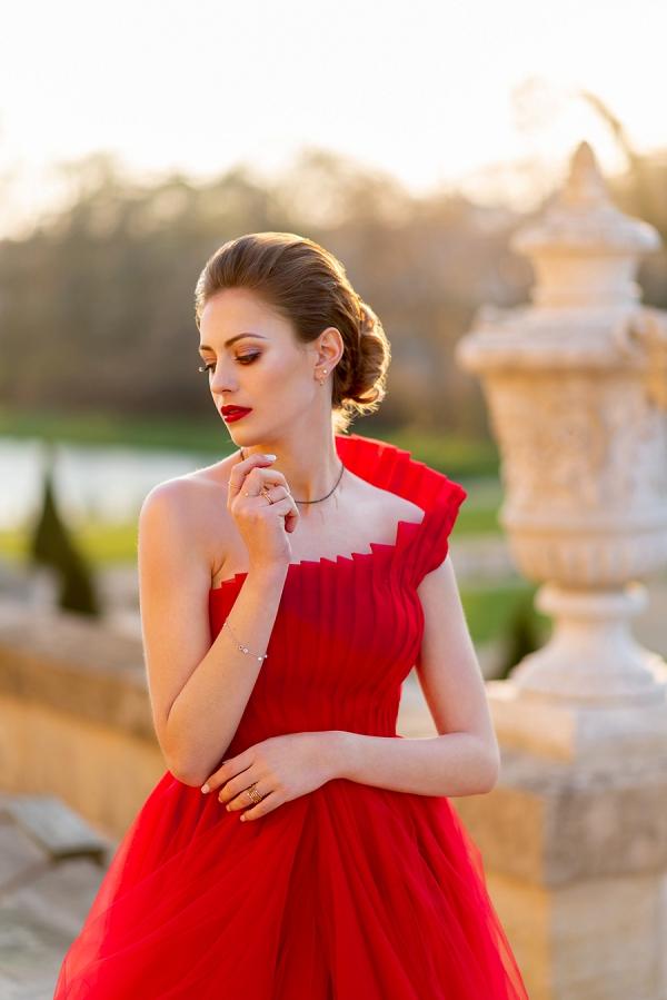one shoulder red dress