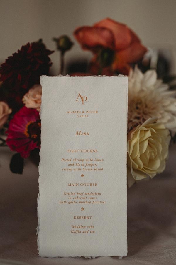 wedding day menu