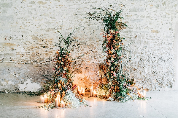 Boho wedding ceremony decor