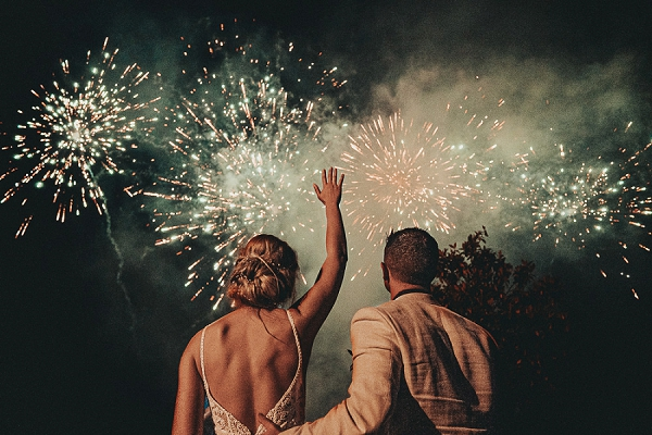 Dordogne wedding day fireworks